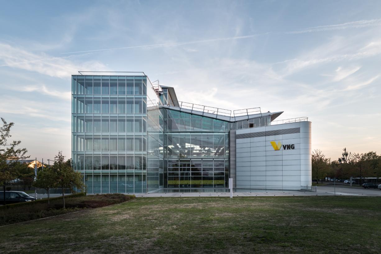 Blick auf das Hauptgebäude von VNG in der Braunstraße (Leipzig)